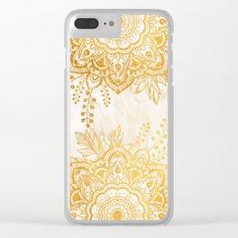 Queen Starring of Mandala-Gold Sunflower II Clear iPhone Case