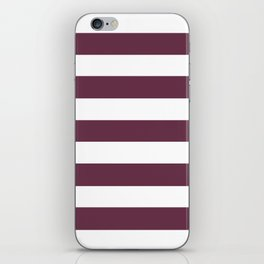 Wine dregs - solid color - white stripes pattern iPhone Skin