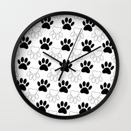 Black And White Dog Paw Print Pattern Wall Clock