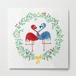 FlamingosTangled in Love Metal Print