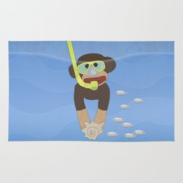 Sock Monkey Snorkeling Rug