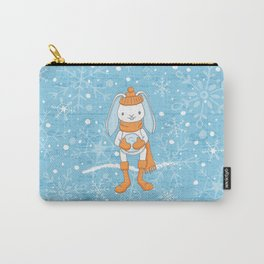 Bunny and Snowflakes_3 Carry-All Pouch
