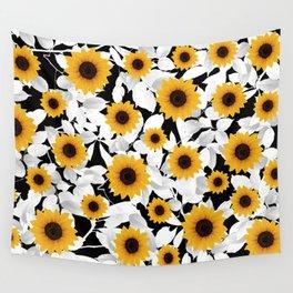 Black & white sunflower Wall Tapestry