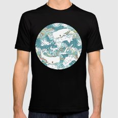 Whales and waves pattern Mens Fitted Tee MEDIUM Black