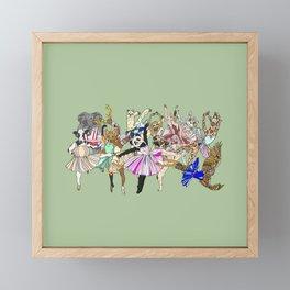 Animal Ballet Hipsters - Green Framed Mini Art Print