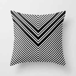 Back and White Lines Minimal Pattern No.1 Throw Pillow