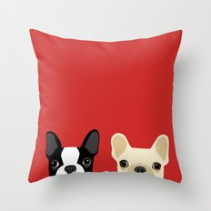 Boston Terrier & Cream French Bulldog RED Throw Pillow