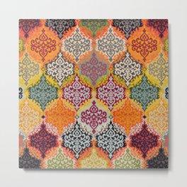 Traditional Oriental Multicolore Rug 3 Metal Print