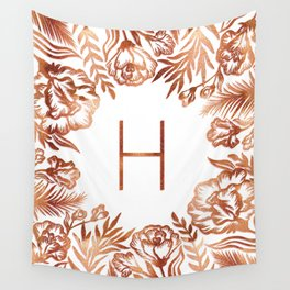 Letter H - Faux Rose Gold Glitter Flowers Wall Tapestry