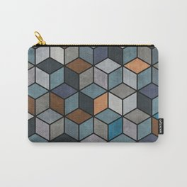 Colorful Hexagon Pattern - Blue, Grey, Brown Carry-All Pouch