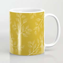 White Branch and Leaves on Mustard Yellow Coffee Mug