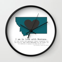 """I am in love with Montana"" - teal Wall Clock"