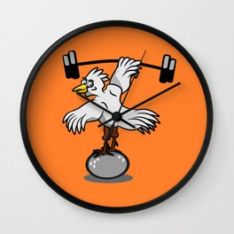 Chicken lifting weights Wall Clock