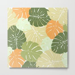 Colourful green monstera Metal Print