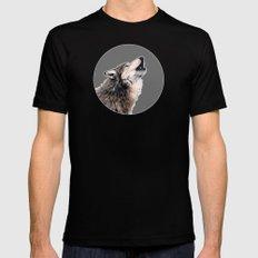 Grey wolf Mens Fitted Tee MEDIUM Black