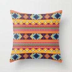 Navajo blanket pattern- orange Throw Pillow