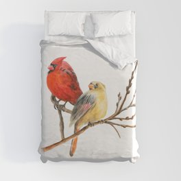 The Perfect Pair - Male and Female Cardinal by Teresa Thompson Duvet Cover