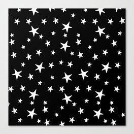 Stars - White on Black Canvas Print