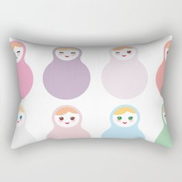 dolls matryoshka on white background, pastel colors Rectangular Pillow