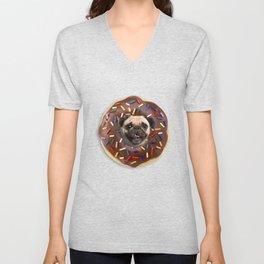 Pug Chocolate Donut Unisex V-Neck