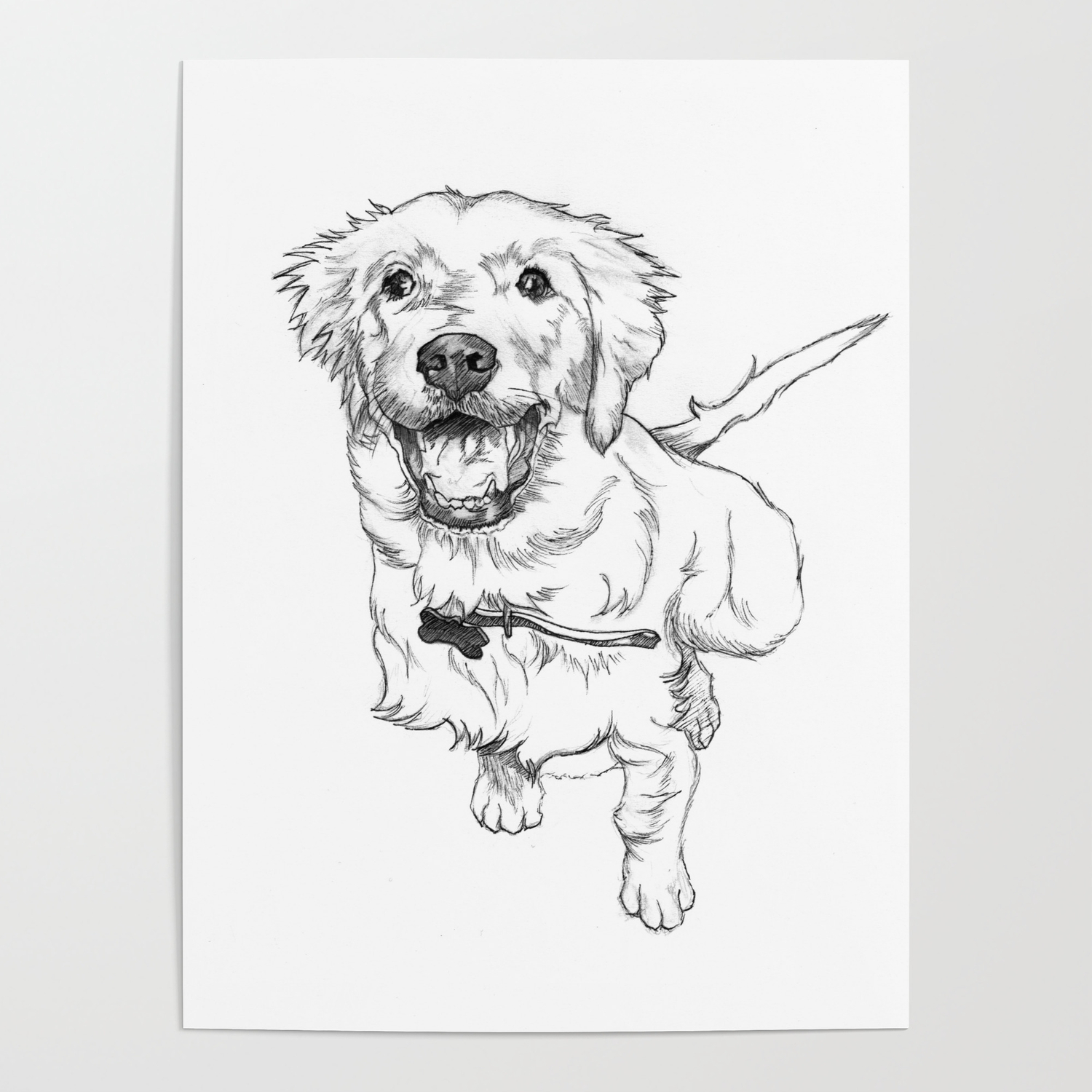 Golden Retriever Puppy Drawing Poster By Petportraitplanet Society6