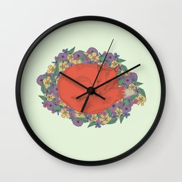 Fox in the Flowers Wall Clock