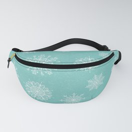 Assorted Snowflakes On Turquoise Backround Fanny Pack