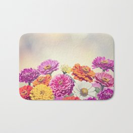Colorful Blossom of Zinnia flowers Bath Mat