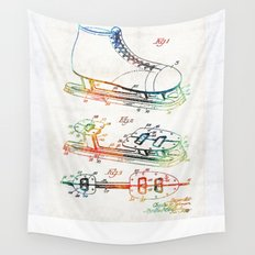 Ice Skate Patent - Sharon Cummings Wall Tapestry