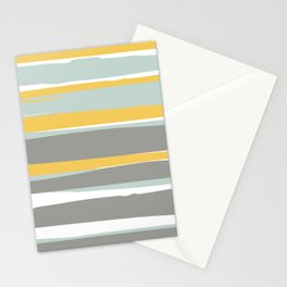 Stripe Abstract, Sun and Beach, Yellow, Pale, Aqua Blue and Gray Stationery Cards