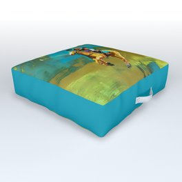 poloplayer abstract turquoise ochre Outdoor Floor Cushion
