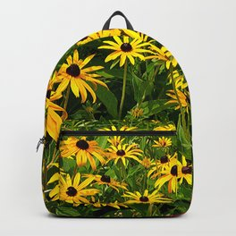 Yellow Flowers Black Eyed Susan and Red Backpack