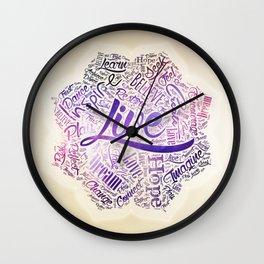 Inspirational Motivational Word Cloud Art in Lotus Wall Clock