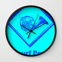 "himym Wall Clocks featuring ""Smurf Penis"" by Jorge Daszkal"