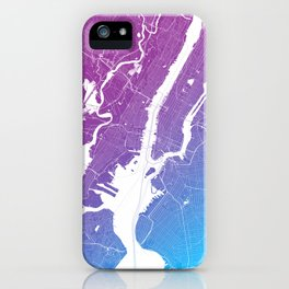 New York Map Print. Neon Pink and Blue iPhone Case