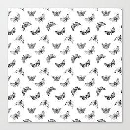 Autumn Night Moth White Pattern Canvas Print