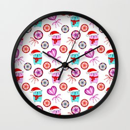 Christmas bears with red Santa hats, sweet vintage retro lollipops candy cute festive pattern design Wall Clock