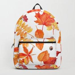 Watercolor leaves seamless pattern Backpack