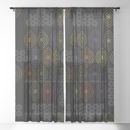 stitches in black Sheer Curtain