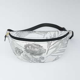 Gray flowers on a white background. Fanny Pack