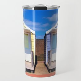 summer beach huts and sunshine Travel Mug