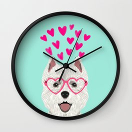 Westie west highland terrier white valentines day dog lover pet valentine Wall Clock