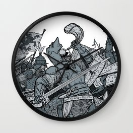 Saturday Knight Special STEEL BLUE / Vintage illustration redrawn and repurposed Wall Clock