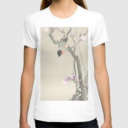 Bird Sitting on a Blossomed Peach Tree - Vintage Japanese Woodblock Print Art T-shirt