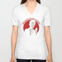laura palmer V-neck T-shirts featuring Who killed Laura Palmer twin peaks v2 by Buby87