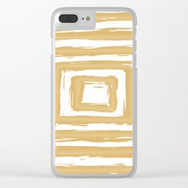 Minimal Gold Square Brush Stroke Pattern Clear iPhone Case