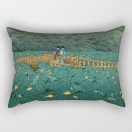 Vintage Japanese Woodblock Print Kawase Hasui Japanese Children Lotus Flowers Garden Wooden Bridge Rectangular Pillow