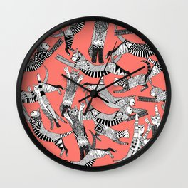 cat party blush coral Wall Clock