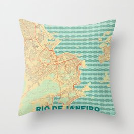 Rio de Janerio Map Retro Throw Pillow