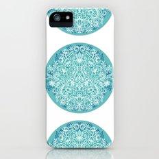 Spring Arrangement - teal & white floral doodle Slim Case iPhone (5, 5s)